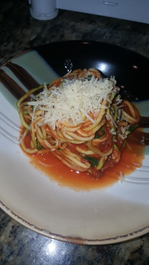 Zucchini (zoodles) with Spaghetti Sauce and Parmesan.
