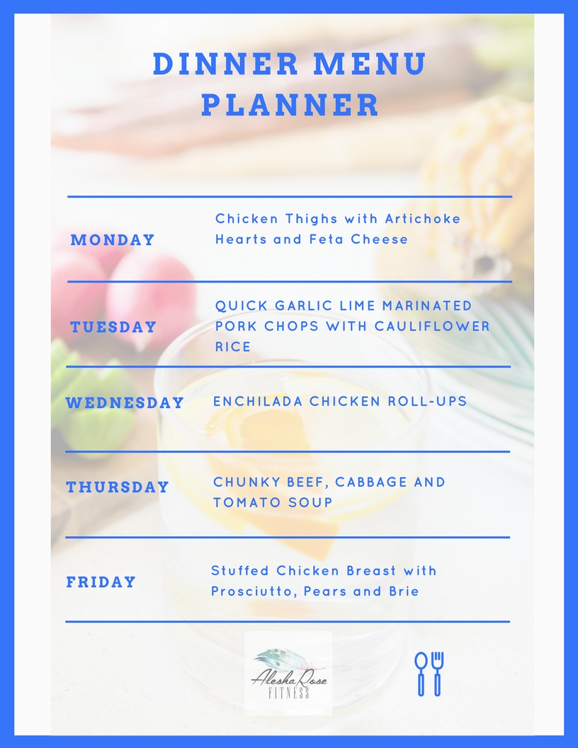 Dinner Meal Planning for week 10/9-13